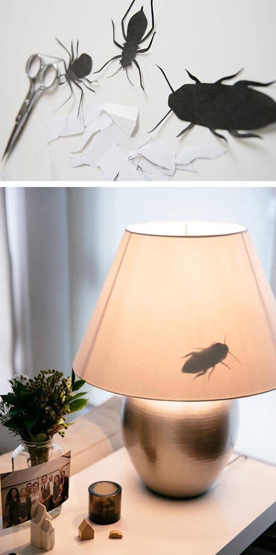 Прикольная картинка Бумажные насекомые на лампе